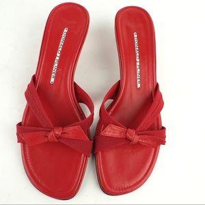 Donald J. Pliner 5.5 red leather heel sandal